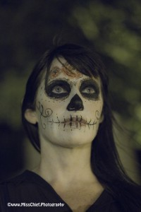 Halloween make up - girl with mouth stiched up